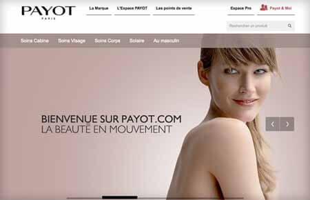 payot stratégie marketing communication laboratoire cosmétique communication digitale et réseaux sociaux action marketing digital site web parallax responsive design